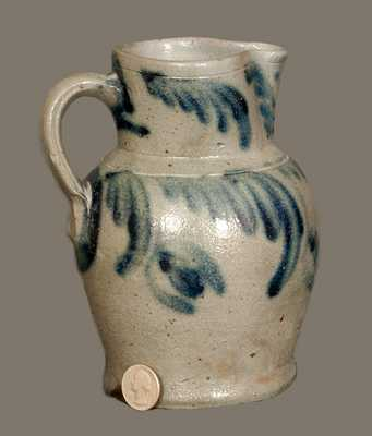 Rare Quart-Sized Baltimore Stoneware Pitcher with Floral Decoration