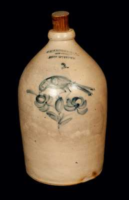 Macquoid Stoneware Jug with Bird and Floral Decoration, NY origin