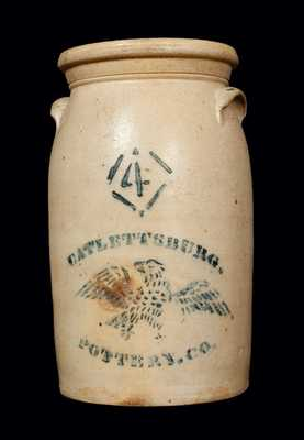 Very Rare CATLETTSBURG (KENTUCKY) POTTERY CO. Stoneware Churn with Stenciled Eagle