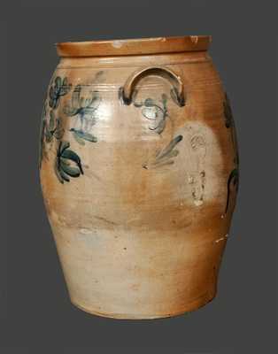 Rare 8 Gal. Baltimore Stoneware Crock with Floral Decoration