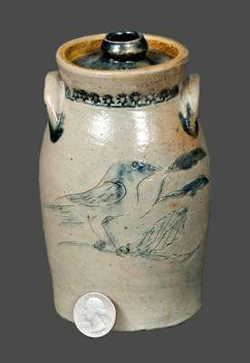 Miniature New York State Stoneware Incised Bird Churn