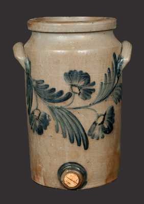 2 Gal. Baltimore Stoneware Water Cooler with Floral Decoration, circa 1850