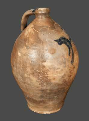 Ovoid Stoneware Jug with Bird and Floral Decoration, possibly Peter Cross, Hartford, CT