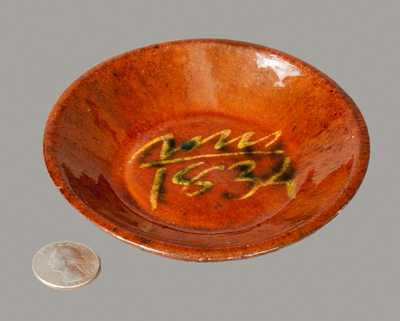 Slip-Decorated Redware Dish Dated 1834