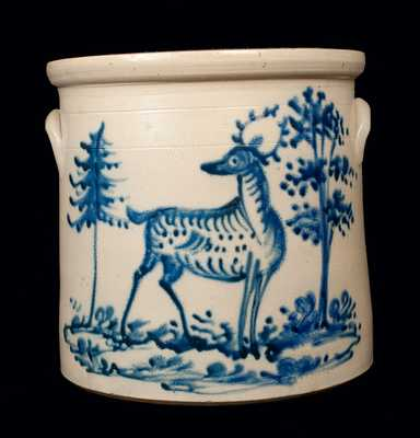 Exceptional 6 Gal. Stoneware Crock w/ Deer and Trees Decoration, Fort Edward, NY