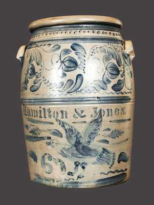 Exceptional HAMILTON & JONES Stoneware Crock w/ One-of-a-Kind Brushed Eagle Decoration