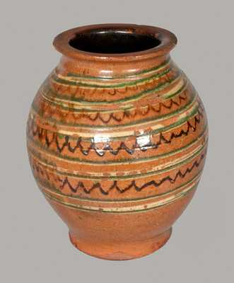 Important Ovoid Redware Jar w/ Alternating Three-Color Slip Decoration, att. John Bell, Chambersburg, PA