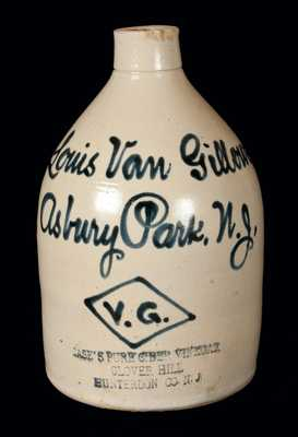 Very Rare Asbury Park, NJ Stoneware Script Jug w/ CASE'S PURE CIDER VINEGAR Impressed at Base