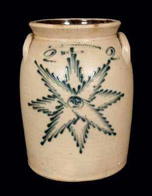 Rare T. HARRINGTON / LYONS Stoneware Crock with Star Face Decoration