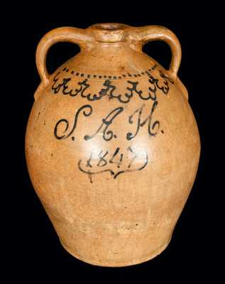 Monumental Stoneware Presentation Jug Inscribed S.A.H. / 1847, attrib Smith & Day, Norwalk, CT
