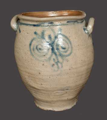 Fine Loop-Handled Stoneware Jar w/ Watchspring Decoration att. Capt. James Morgan, Cheesequake, NJ, c1770