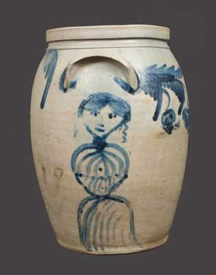 Extremely Rare Stoneware Crock w/ Elaborate Woman and Man's Head Decoration, Baltimore, c1850