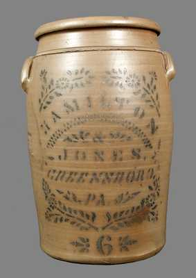 6 Gal. HAMILTON & JONES / GREENSBORO, PA Stoneware Crock w/ Stenciled Decoration