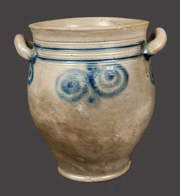Early Stoneware Jar with Watchspring Decorations, att. Capt. James Morgan, Cheesequake, NJ, c1770