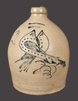 2 Gal. S. HART / FULTON Stoneware Jug with Double-Birds Decoration