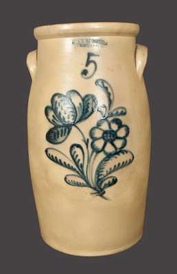 5 Gal. JOHN BURGER / ROCHESTER Stoneware Churn with Elaborate Slip-Trailed Floral Decoration