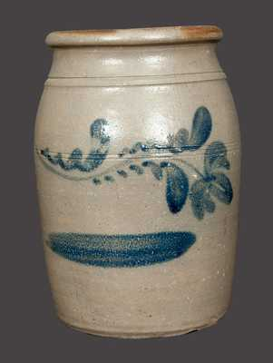 1 Gal. Western PA Stoneware Crock with Brushed Floral Decoration