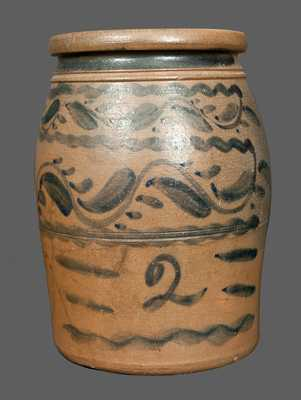 2 Gal. Western PA Stoneware Jar with Elaborate Freehand Brushed Decoration, probably Shinnston, WV