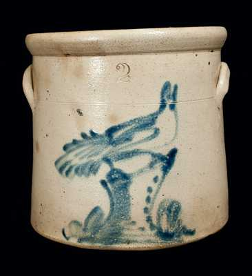 2 Gal. New York State Stoneware Crock with Bird on Stump Decoration