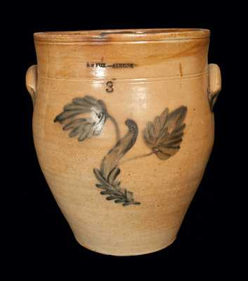 3 Gal. E. S. FOX / ATHENS Stoneware Crock with Floral Decoration