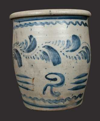 2 Gal. Western PA Stoneware Crock with Elaborate Freehand Decoration