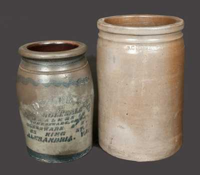 Lot of Two: Alexandria Stoneware Jars, B. C. MILBURN and E. J. MILLER