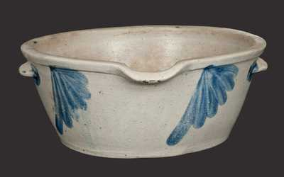 Stoneware Milkpan with Fan-Shaped Decoration, Baltimore, circa 1870