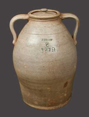 8 Gal. Ohio Double-Handled Stoneware Jug Impressed J. TRACY / 1879