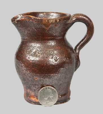 Unusual Miniature Redware Pitcher Incised at Shoulder