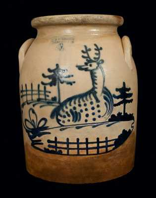 4 Gal. J. & E. NORTON / BENNINGTON, VT Stoneware Crock with Reclining Deer and Fence