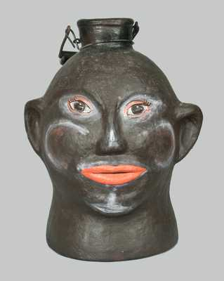 Unusual Cold-Painted Face Jug
