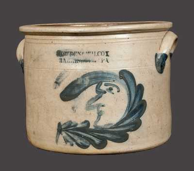 Rare COWDEN & WILCOX Stoneware Butter Crock with Man-in-the-Moon Design