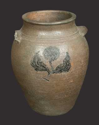 1 Gal. Stoneware Jar with Incised Floral and Leaf Decoration, American, circa 1820-30
