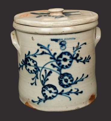 3 Gal. W. ROBERTS / BINGHAMTON Stoneware Crock with Slip-Trailed Floral Decoration