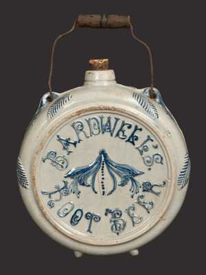 BARDWELL'S ROOT BEER Stoneware Canteen attrib. Whites Utica