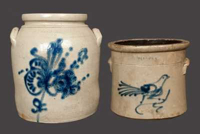 Lot of Two: WHITES UTICA Stoneware Crock with Bird Decoration and WHITES UTICA Crock with Floral Decoration