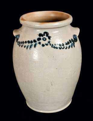 Very Fine Slip-Trailed Stoneware Jar Signed by Morgan & Amoss, Baltimore, 1821