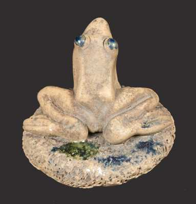 Rare Salt-Glazed Stoneware Frog Paperweight Signed