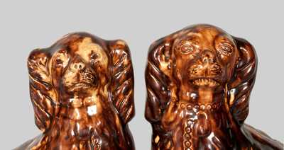 Very Important Pair of Glazed Redware Spaniels Signed JOHN BELL, Waynesboro, PA