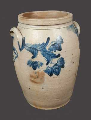 Extremely Rare Stoneware Crock w/ Elaborate Woman and Man s Head Decoration, Baltimore, c1850