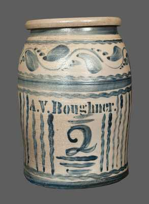 Very Rare A. V. BOUGHNER Stoneware Crock with Elaborate Decoration
