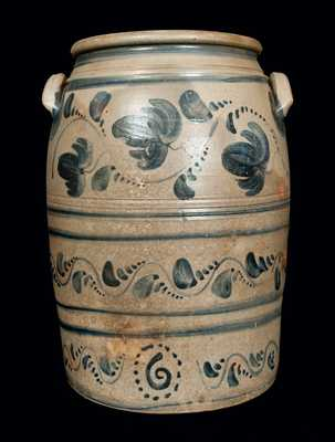 6 Gal. Western PA Stoneware Crock with Elaborate Brushed Decoration