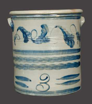 Rare HAMILTON / GREENSBORO Stoneware Crock with Brushed Vine and Line Decoration