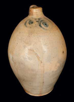 Scarce 3 Gal. Ovoid Stoneware Jug w/ Watchspring Decoration, NY or NJ, 18th century