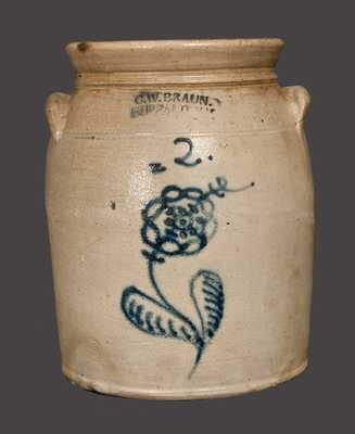 2 Gal. C. W. BRAUN / BUFFALO, NY Stoneware Crock with Slip-Trailed Floral Decoration