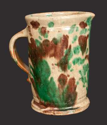 Multi-Glazed Redware Tankard Pitcher, Strasburg, VA origin, late 19th century