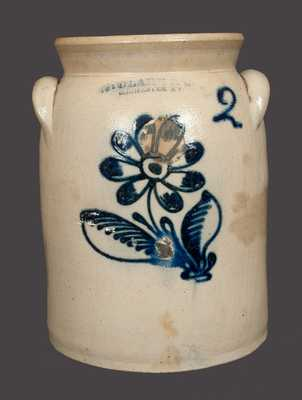 2 Gal. N. CLARK & CO. / ROCHESTER, NY Stoneware Crock with Slip-Trailed Floral Decoration