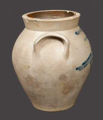 Very Rare 1 Gal. D. ROBERTS / UTICA Stoneware Crock w/ Finely-Incised Bird Decoration