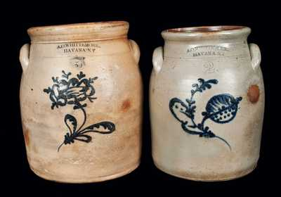 Lot of Two: A. O. WHITTEMORE / HAVANA, NY Slip-Trailed Stoneware Jars