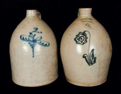 Lot of Two: 2 Gal. Stoneware Jugs by C. HART / SHERBURNE, NY and J. FISHER / LYONS, NY